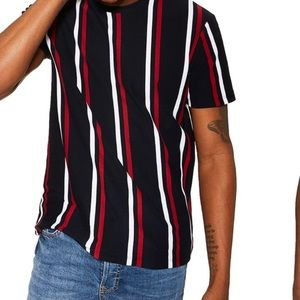 TOPMAN Striped Red/Navy/White T-Shirt Medium